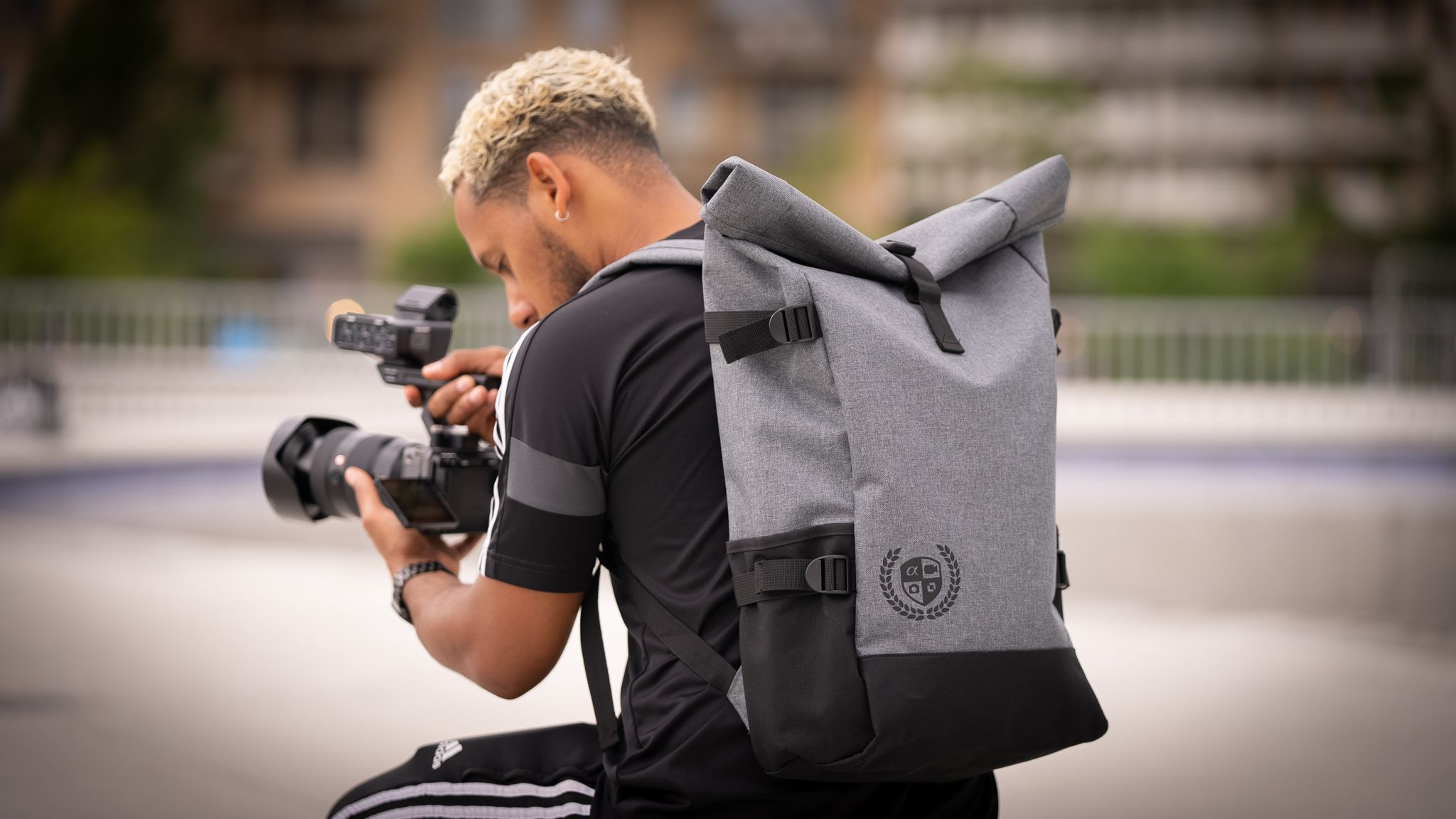 The Sony x Budgetcam x Kamera Express roll top backpack